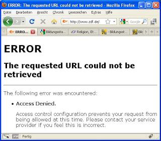 Screenshot ZDF blockiert