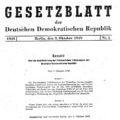 Gesetzblatt (GBl.) der Deutschen Demokratischen Republik (DDR) 1949, Seite 1 (GBl. DDR 1949, S. 1)